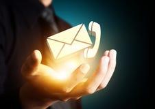 Μας ελάτε σε επαφή με σύμβολο στο χέρι επιχειρηματιών διανυσματική απεικόνιση
