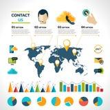 Μας ελάτε σε επαφή με σύνολο infographics Στοκ Εικόνες