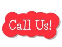 Μας καλέστε αντιπροσωπεύει τη συνομιλία επικοινωνεί και δίκτυο Στοκ Εικόνες