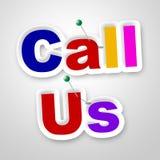 Μας καλέστε σημάδι παρουσιάζει τη συνομιλία και διαφήμιση επικοινωνίας Στοκ φωτογραφία με δικαίωμα ελεύθερης χρήσης
