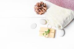 Μασάζ ή aromatherapy σύνολο: πετρέλαιο, πέτρες και σαπούνι Στοκ Εικόνες