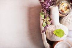 Μασάζ που θέτει με τις βοτανικές σφαίρες συμπιέσεων, τα φρέσκα χορτάρια και τα λουλούδια και τα άλατα λουτρών στο ελαφρύ υπόβαθρο Στοκ Εικόνες