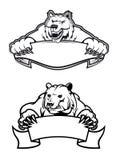 μασκότ αρκούδων με τα εμβλήματαες Στοκ εικόνα με δικαίωμα ελεύθερης χρήσης