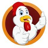 Μασκότ κοτόπουλου με τον αντίχειρα επάνω απεικόνιση αποθεμάτων