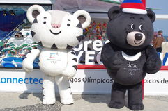 Μασκότ Soohorang και Bandabi των χειμερινών Ολυμπιακών Αγώνων Pyeongchang Στοκ Φωτογραφίες