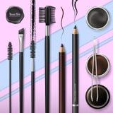 Μαστίγιο και φραγμός Brow Εξαρτήματα Αποτελέστε Εργαλεία για την προσοχή των brows Μολύβι φρυδιών Βούρτσα, τσιμπιδάκια και χτένα  απεικόνιση αποθεμάτων