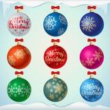 Ματ ζωηρόχρωμες σφαίρες Χριστουγέννων με τα κόκκινα τόξα διανυσματική απεικόνιση