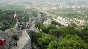 Μαυριτανικός τοίχος του Castle Sintra απόθεμα βίντεο