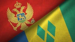 Μαυροβούνιο και Άγιος Βικέντιος και Γρεναδίνες δύο υφαντικό ύφασμα σημαιών απεικόνιση αποθεμάτων