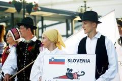 Μαυροβούνιο, Herceg Novi - 28/05/2016: Σλοβένικη λαϊκή ομάδα Iskraemeco από την πόλη Kranj Στοκ φωτογραφία με δικαίωμα ελεύθερης χρήσης