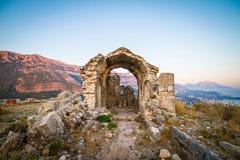 Μαυροβούνιο, Sutomore, καταστροφές φρουρίων Στοκ εικόνες με δικαίωμα ελεύθερης χρήσης