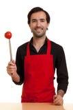 Μαχαίρι αρχιμαγείρων tomatoe Στοκ Φωτογραφία
