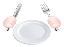 Μαχαίρι και δίκρανο χεριών με το πιάτο Στοκ εικόνες με δικαίωμα ελεύθερης χρήσης