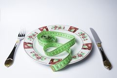 Μαχαίρι και πιάτο δικράνων με το μετρητή Στοκ εικόνες με δικαίωμα ελεύθερης χρήσης