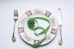 Μαχαίρι και πιάτο δικράνων με το μετρητή Στοκ Φωτογραφία