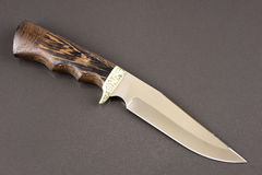 Μαχαίρι κυνηγιού στην γκρίζα πέτρα Στοκ Εικόνες