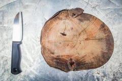 Μαχαίρι με τον πίνακα μπριζολών Στοκ εικόνες με δικαίωμα ελεύθερης χρήσης