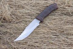 Μαχαίρι τουριστών στην ξηρά χλόη, μαχαίρι κυνηγιού, δολοφονία, στοκ φωτογραφία με δικαίωμα ελεύθερης χρήσης