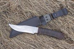 Μαχαίρι τουριστών στην ξηρά χλόη, μαχαίρι κυνηγιού, δολοφονία, στοκ εικόνα