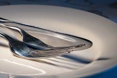 Μαχαιροπήρουνα ανοξείδωτου στο άσπρο πιάτο Στοκ εικόνες με δικαίωμα ελεύθερης χρήσης