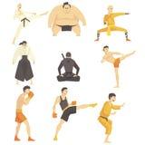 Μαχητές πολεμικών τεχνών που εκτελούν το διαφορετικό σύνολο λακτισμάτων τεχνικής ασιατικού παλεύοντας αθλητικού επαγγελματία σε π διανυσματική απεικόνιση