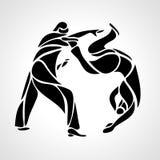 Μαχητές τζούντου γύρω από το εικονόγραμμα ή το λογότυπο Εικονίδιο πολεμικών τεχνών διανυσματική απεικόνιση