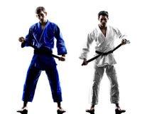 Μαχητές Judokas που παλεύουν τη σκιαγραφία ατόμων Στοκ Φωτογραφίες