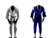 Μαχητές Judokas που παλεύουν τη σκιαγραφία ατόμων Στοκ εικόνα με δικαίωμα ελεύθερης χρήσης