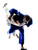 Μαχητές Judokas που παλεύουν τις σκιαγραφίες ατόμων Στοκ Εικόνες