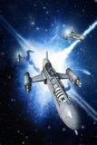 Μαχητής και έκρηξη διαστημοπλοίων ελεύθερη απεικόνιση δικαιώματος