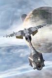 Μαχητής και πλανήτες διαστημοπλοίων ελεύθερη απεικόνιση δικαιώματος