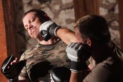 Μαχητής που χτυπιέται αρσενικός στο σαγόνι στοκ φωτογραφία
