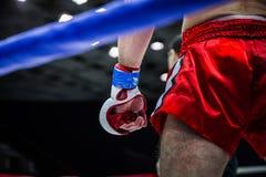 Μαχητής στη γωνία του δαχτυλιδιού Στοκ φωτογραφία με δικαίωμα ελεύθερης χρήσης