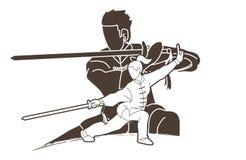 Μαχητής Kung Fu ανδρών και γυναικών, πολεμικές τέχνες με τα κινούμενα σχέδια δράσης όπλων διανυσματική απεικόνιση