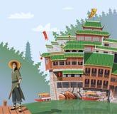 Μαχητής Kung fu και αρχαίο κινεζικό χωριό στο υπόβαθρο Στοκ Εικόνες