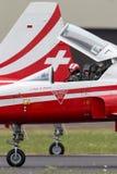 Μαχητικά αεροσκάφη θλνορτχροπ φ-5E από την ελβετική ομάδα Patrouille Suisse επίδειξης σχηματισμού Πολεμικής Αεροπορίας Στοκ εικόνα με δικαίωμα ελεύθερης χρήσης