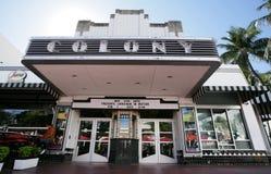 ΜΑΪΑΜΙ, ΗΠΑ - ΣΤΙΣ 1 ΦΕΒΡΟΥΑΡΊΟΥ: Διάσημο θέατρο του Art Deco αποικιών που ανακαινίζεται για Στοκ φωτογραφία με δικαίωμα ελεύθερης χρήσης