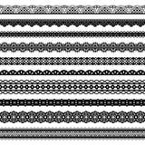Μαύρα άνευ ραφής σύνορα δαντελλών συλλογής οριζόντια απεικόνιση αποθεμάτων
