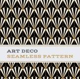 Μαύρα άσπρα και χρυσά χρώματα 02 σχεδίων του Art Deco άνευ ραφής Στοκ Φωτογραφία
