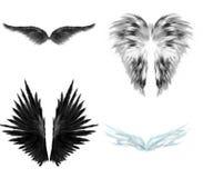 μαύρα άσπρα φτερά αγγέλου Διανυσματική απεικόνιση