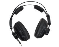 Μαύρα ακουστικά στούντιο που απομονώνονται στο υπόβαθρο whiute Στοκ Εικόνες