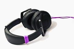 μαύρα ακουστικά Στοκ εικόνες με δικαίωμα ελεύθερης χρήσης