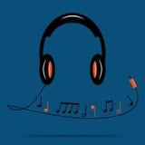 μαύρα ακουστικά Στοκ Εικόνα