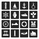 Μαύρα απλά εικονίδια ναυτικών, ναυσιπλοΐας και θάλασσας διανυσματική απεικόνιση