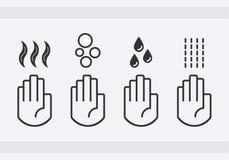 Μαύρα απομονωμένα πλένοντας χέρια με τις πτώσεις νερού, το σαπούνι, και τα ξηρότερα εικονίδια σημαδιών αέρα χτυπήματος καθορισμέν ελεύθερη απεικόνιση δικαιώματος