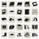Μαύρα απλά εικονίδια βιβλίων καθορισμένα Στοκ Εικόνες
