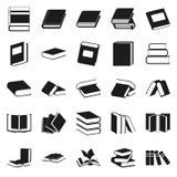 Μαύρα απλά εικονίδια βιβλίων καθορισμένα Στοκ εικόνες με δικαίωμα ελεύθερης χρήσης
