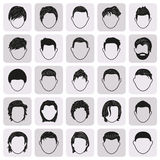 Μαύρα απλά εικονίδια hairstyle ατόμων αρσενικά καθορισμένα Στοκ Φωτογραφίες