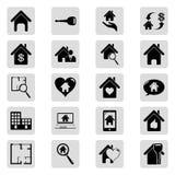 Μαύρα απλά διανυσματικά εικονίδια ακίνητων περιουσιών καθορισμένα Στοκ φωτογραφία με δικαίωμα ελεύθερης χρήσης