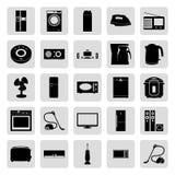 Μαύρα απλά διανυσματικά εικονίδια ηλεκτρονικής σπιτιών καθορισμένα Στοκ Φωτογραφίες